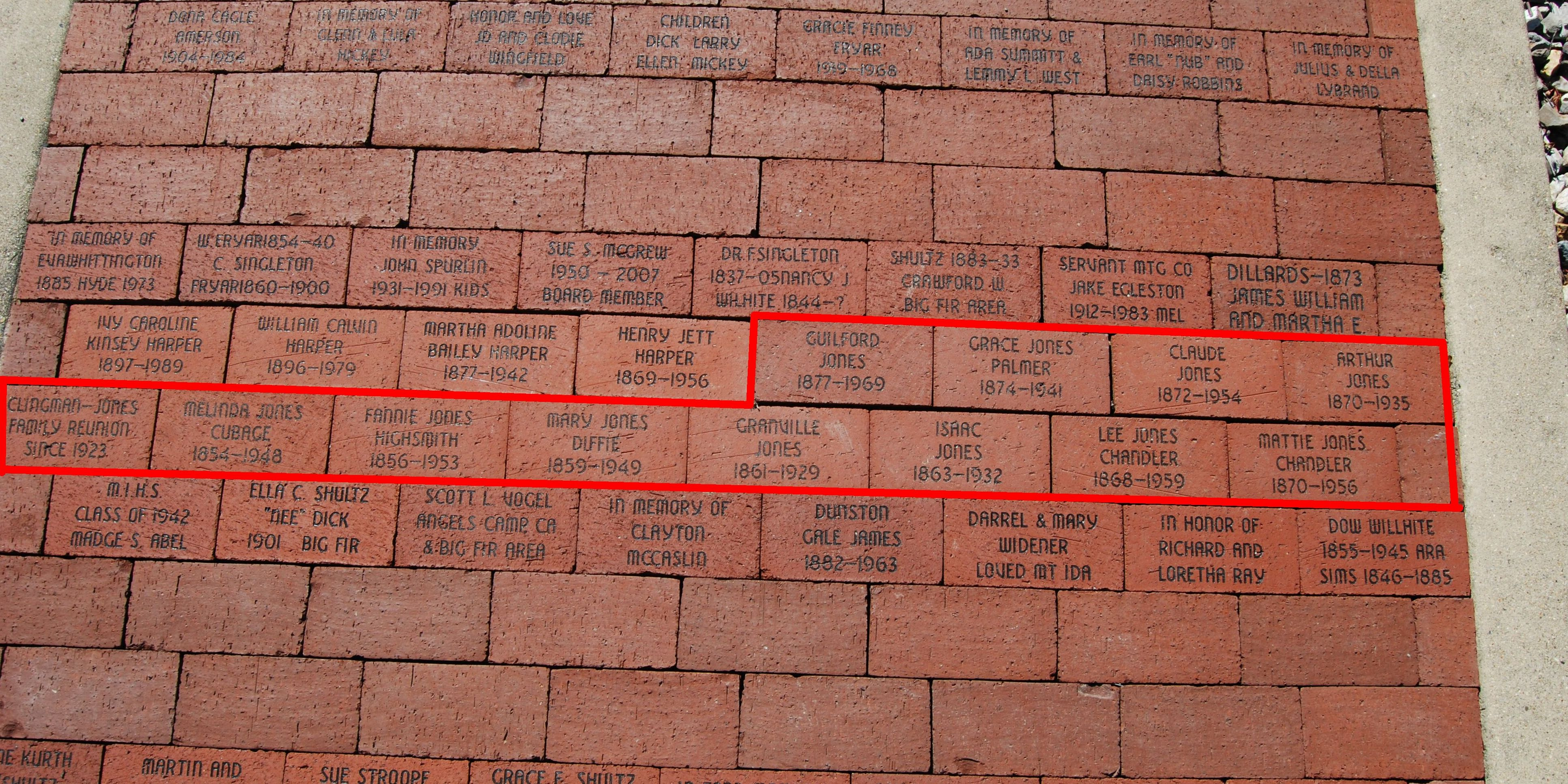 Clingman-Jones bricks Mt Ida Museum