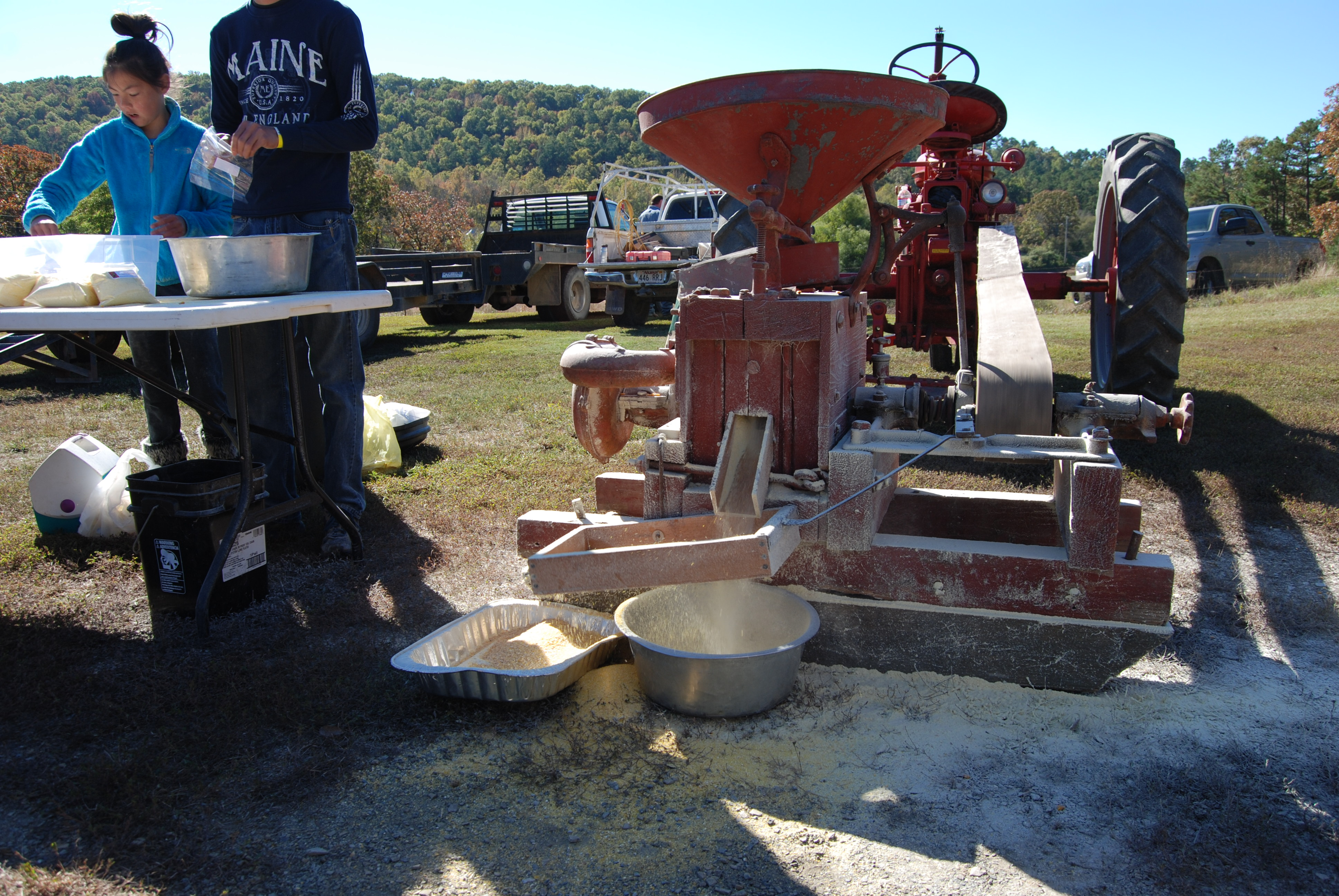 Grinding corn meal