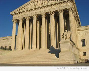 US Supreme Court building, front elevation, st...